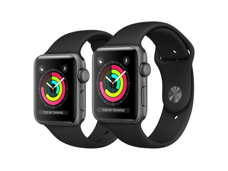 Apple Watch Series 3 GPS Sport 38 mm Alugehäuse Space Gray, Sportarmband Black